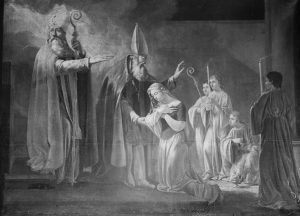 Shepherdess St. Genevieve of Paris being consecrated a virgin by the bishop.